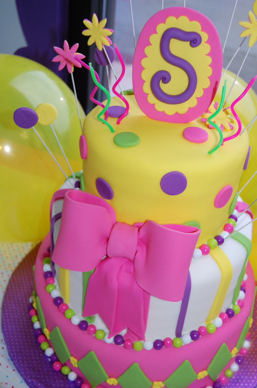 Pink And Green First Birthday Cake