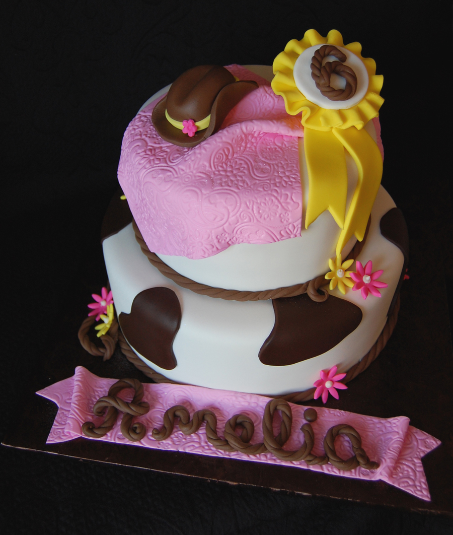 Cowgirl Birthday Cake With Hat And Winning Ribbon on Cake Central