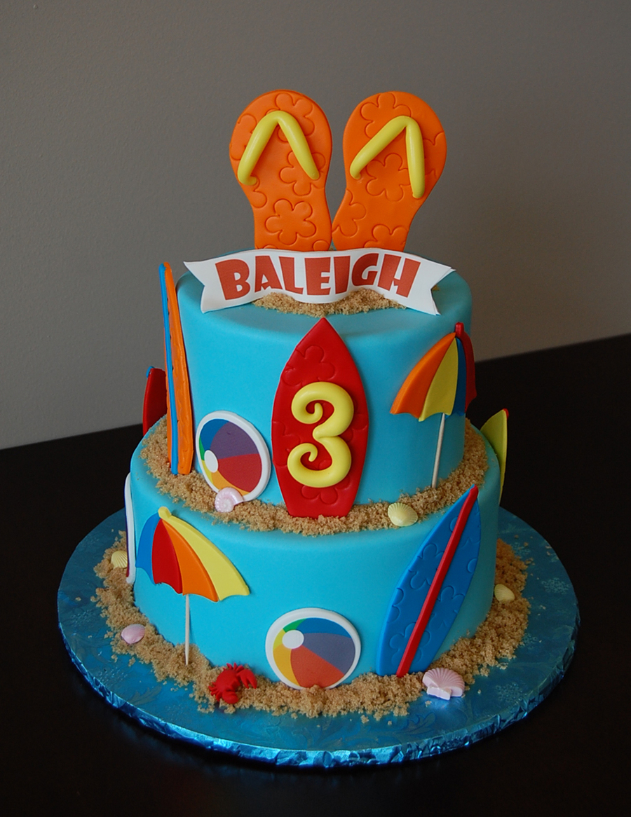 Super Beach Themed Birthday Cake With Fondant Flip Flops Topper And Surf Funny Birthday Cards Online Inifofree Goldxyz