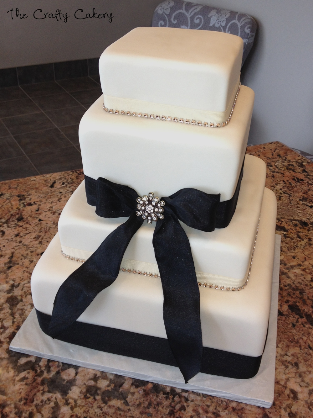 Black Ribbon And Rhinestone Wedding Cake  on Cake Central