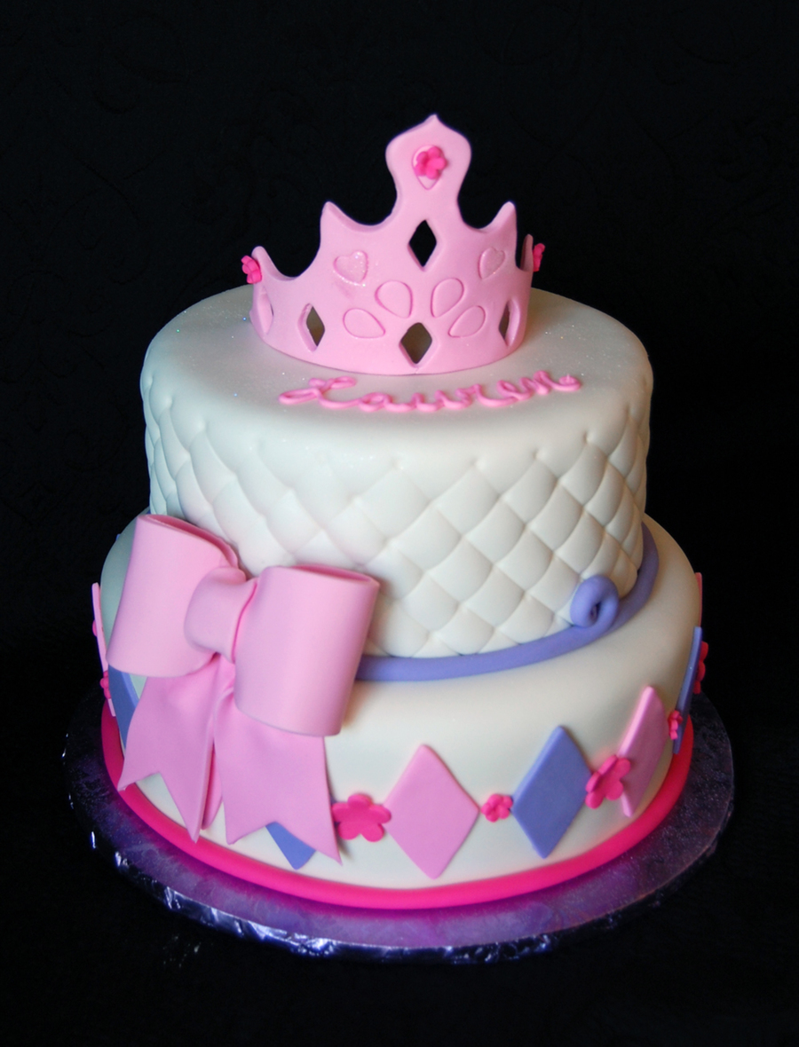Princess Themed Girls Birthday Cake In Pink And Purple Fondant With Quilting Bow And A Crown on Cake Central