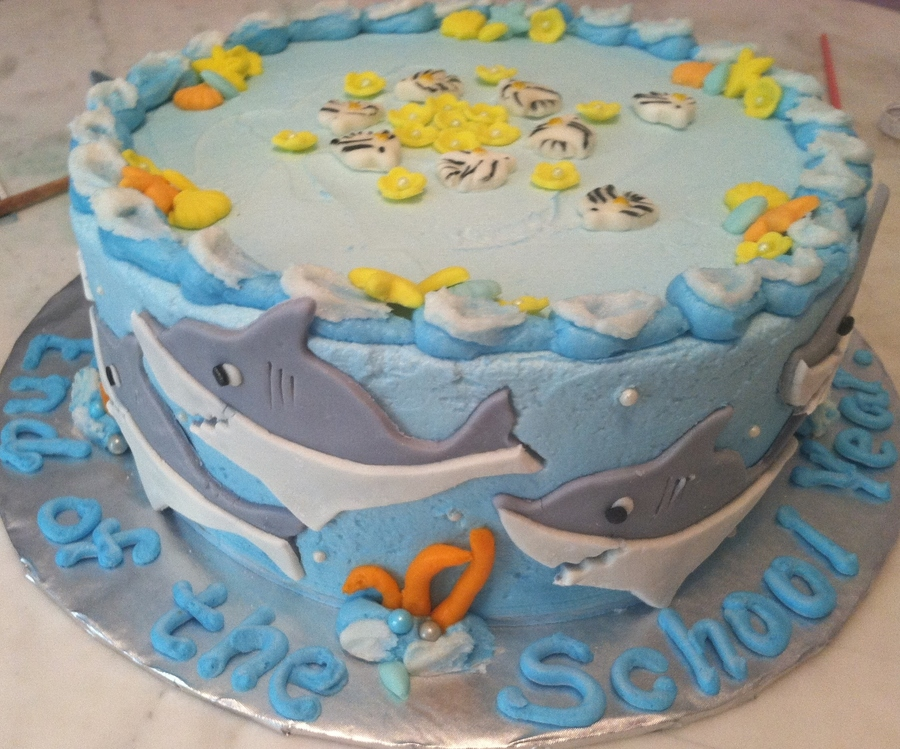 Shark And Angelfish Cake For 2Nd Grade Class on Cake Central