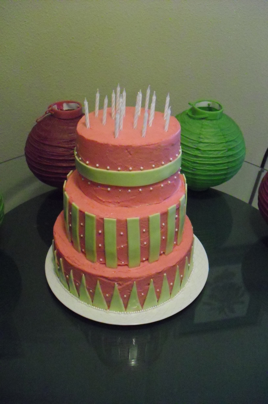 Stacked Pink And Lime Green on Cake Central