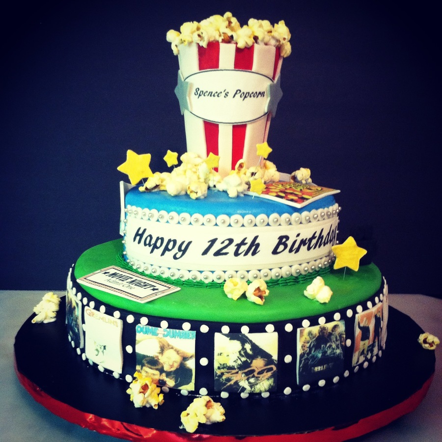 Movie Themed Birthday Cake With Film Marquee Candy And Popcorn