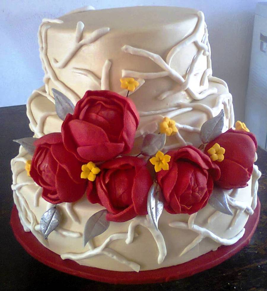 Fruit Cake Covered In Fondant And Airbrushed With A Pearl Sheen Flowers Are Gumpaste The Design Isnt Mine I Got It From A Wedding Magazi  on Cake Central