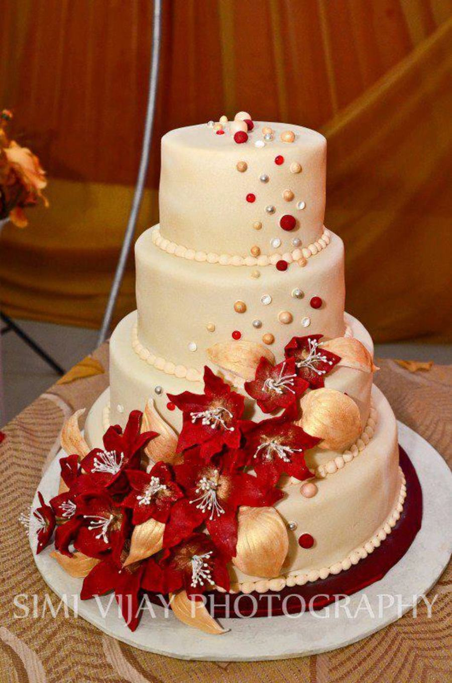 Fruit Cake With Fondant Flowers And Hand Rolled Balls Dusted With Lustre Dust Edible Gems Large Silver Dragees Airbrushed With Pearl Shee on Cake Central