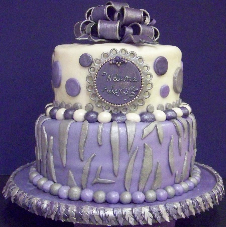 Zebra Polka Dot Themed Baby Shower Cake In Lavender Lilac