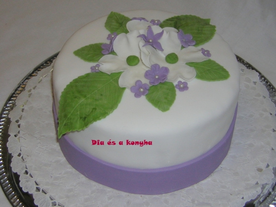 White-Purple Cake With Flowers on Cake Central