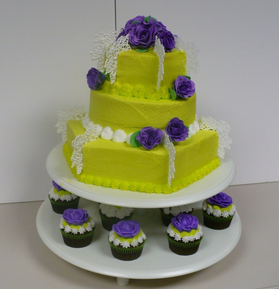 Bold Green And Purple Cake With Cupcakes on Cake Central
