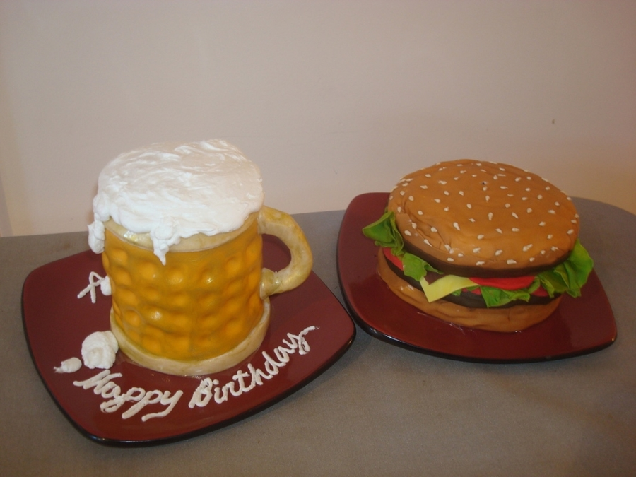 Enjoyable Perfect Combination Beer And Burger Cakecentral Com Funny Birthday Cards Online Inifofree Goldxyz