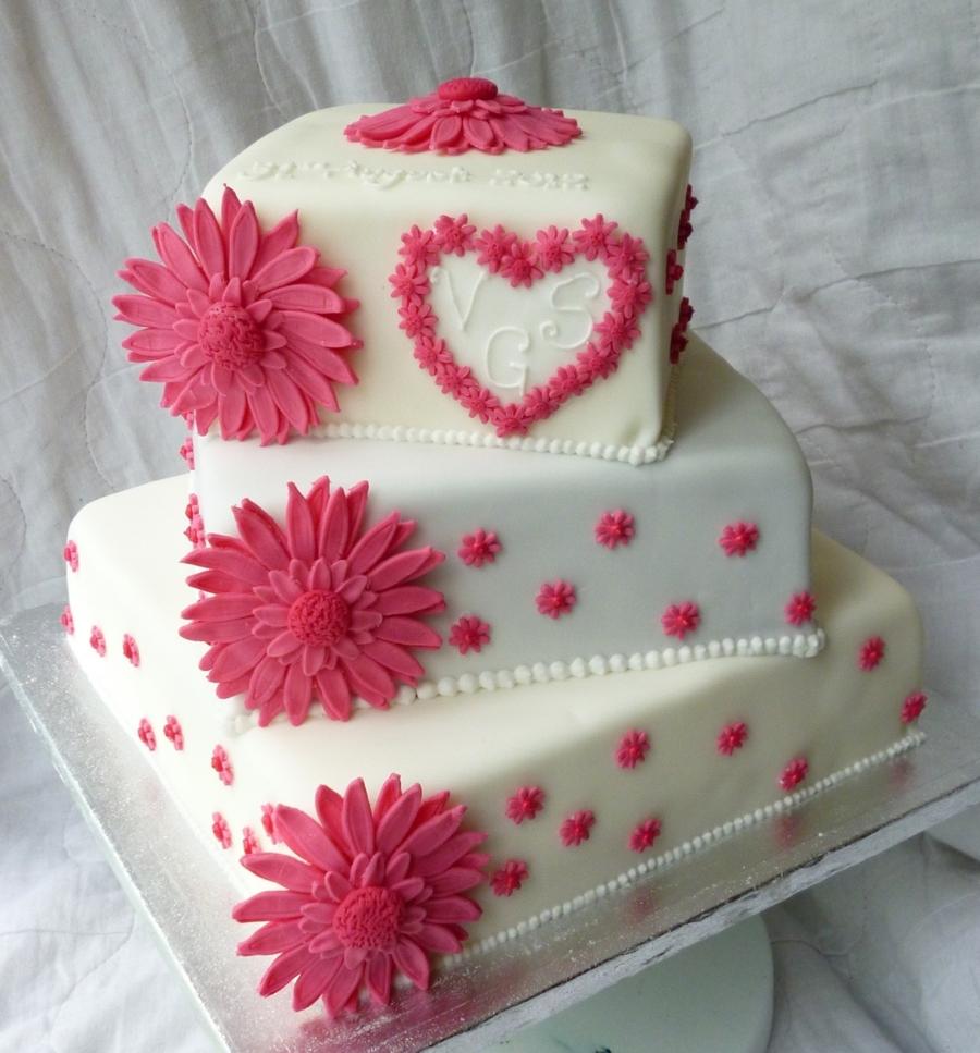 Pink Daisy Cake Decoration : Pink Gerbera Wedding Cake - CakeCentral.com