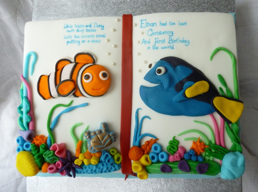 Nemo and dory 1st birthday and christening cake for Nemo cake template