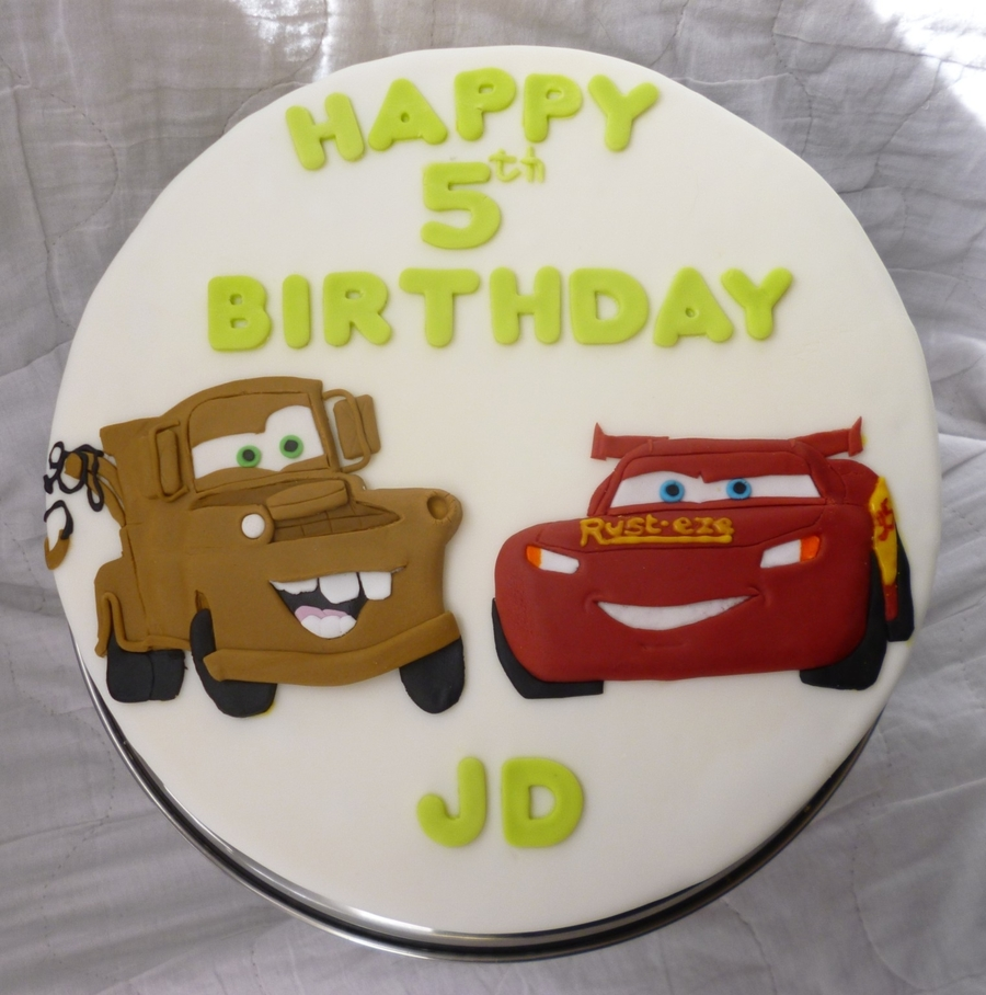 Admirable Lightning Mcqueen And Mater Birthday Cake For Jd Cakecentral Com Funny Birthday Cards Online Alyptdamsfinfo