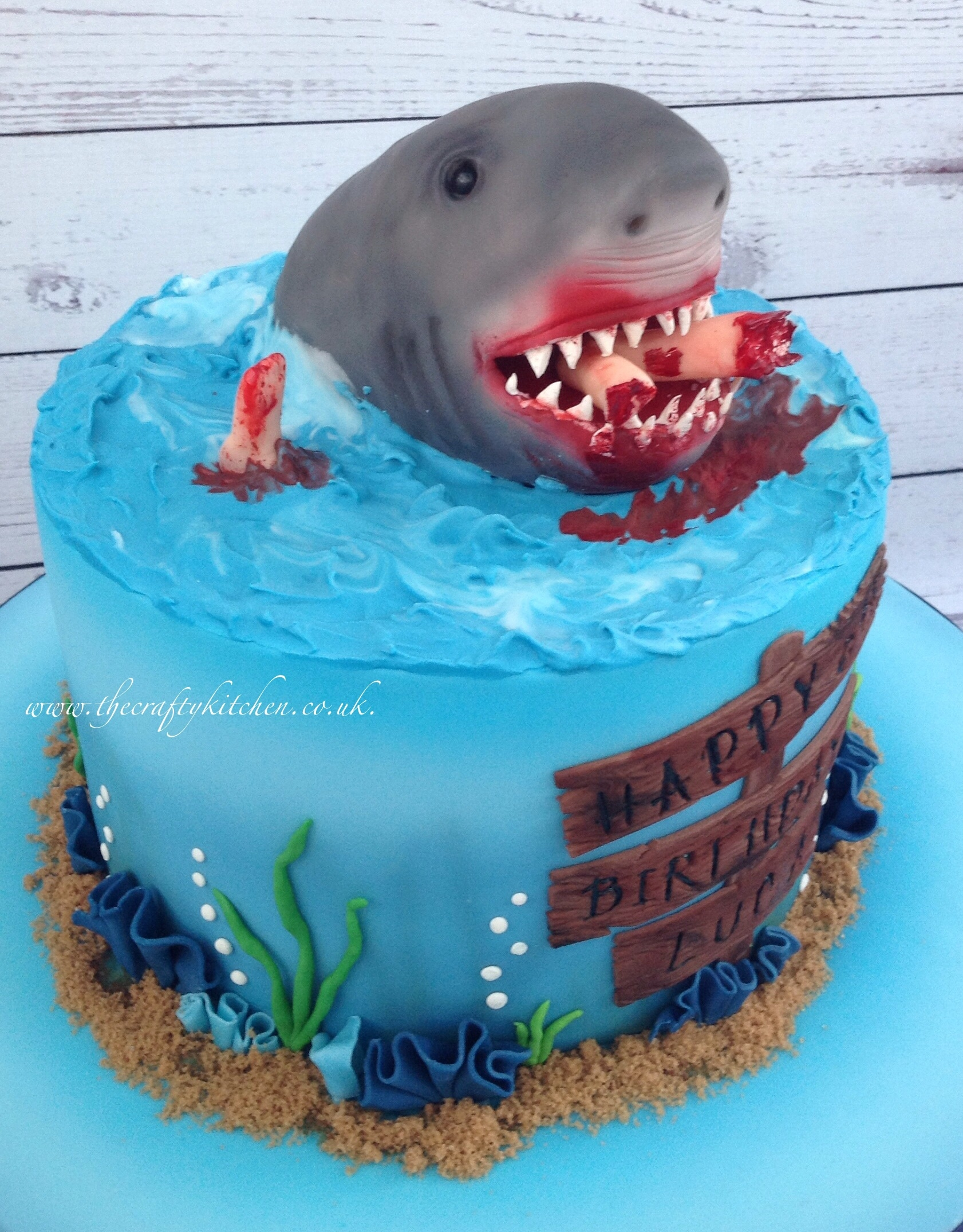 This Cake Was Ordered By A Dad For His Little Boys 6th Birthday He Asked If I Could Make Shark Themed And It Scary