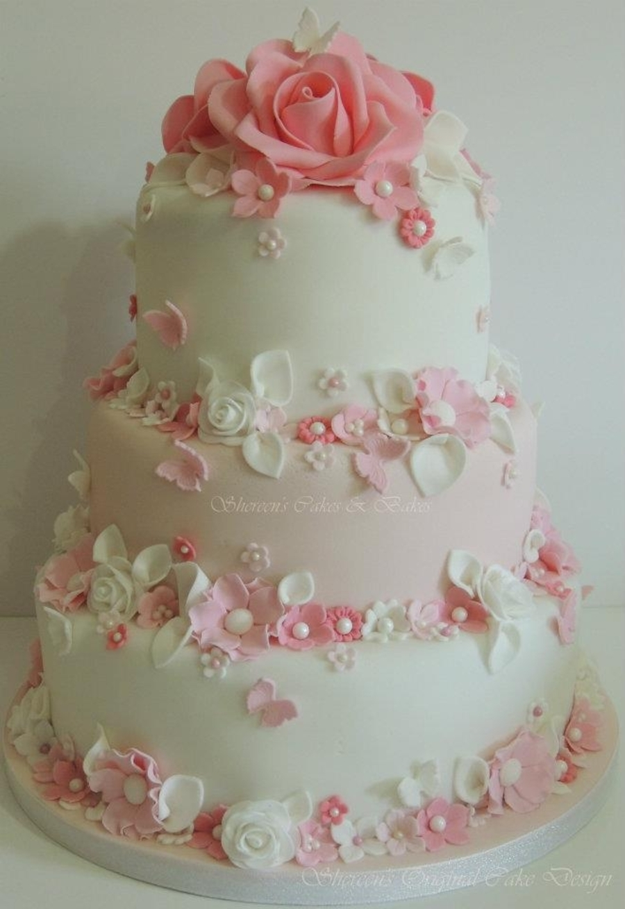 pink and white wedding cake designs pink amp white wedding cake cakecentral 18560