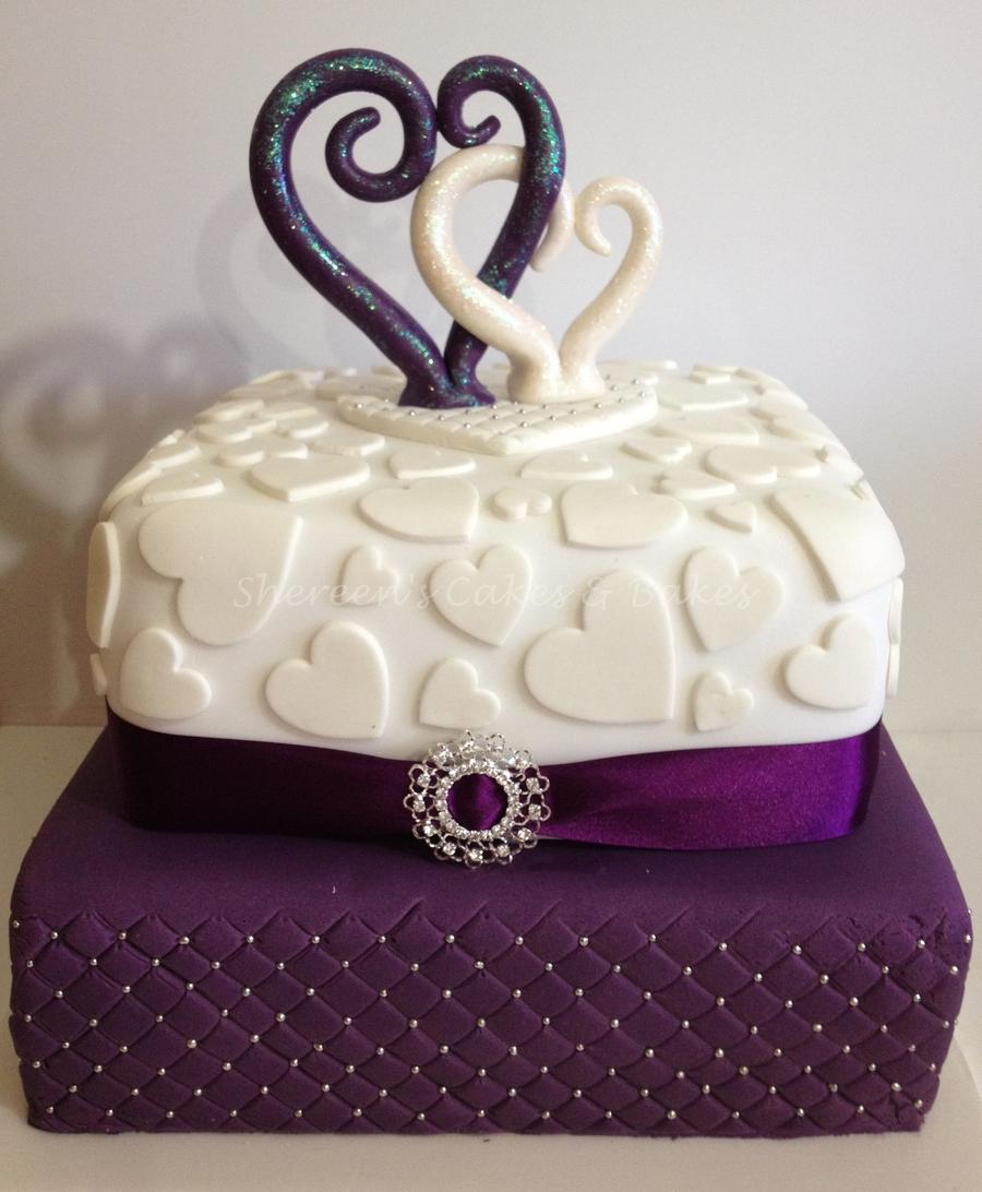 Cadbury Purple & White Wedding Cake - CakeCentral.com