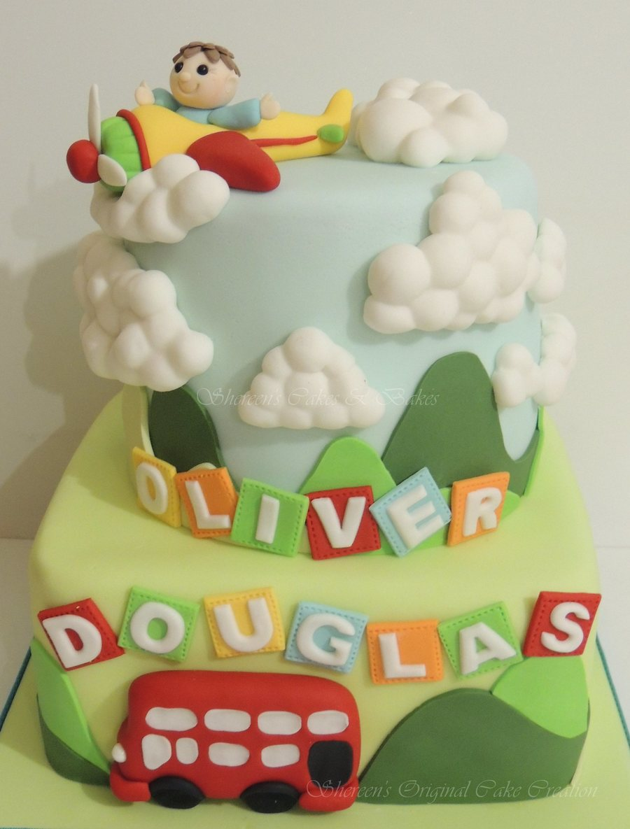 Made For A Little Boys Christening And He Loves Red Buses And I Added The Plane Too For Extra Colour on Cake Central