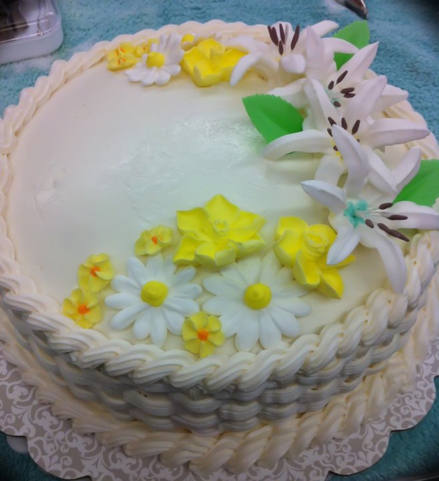 Basketweave Floral Cake on Cake Central