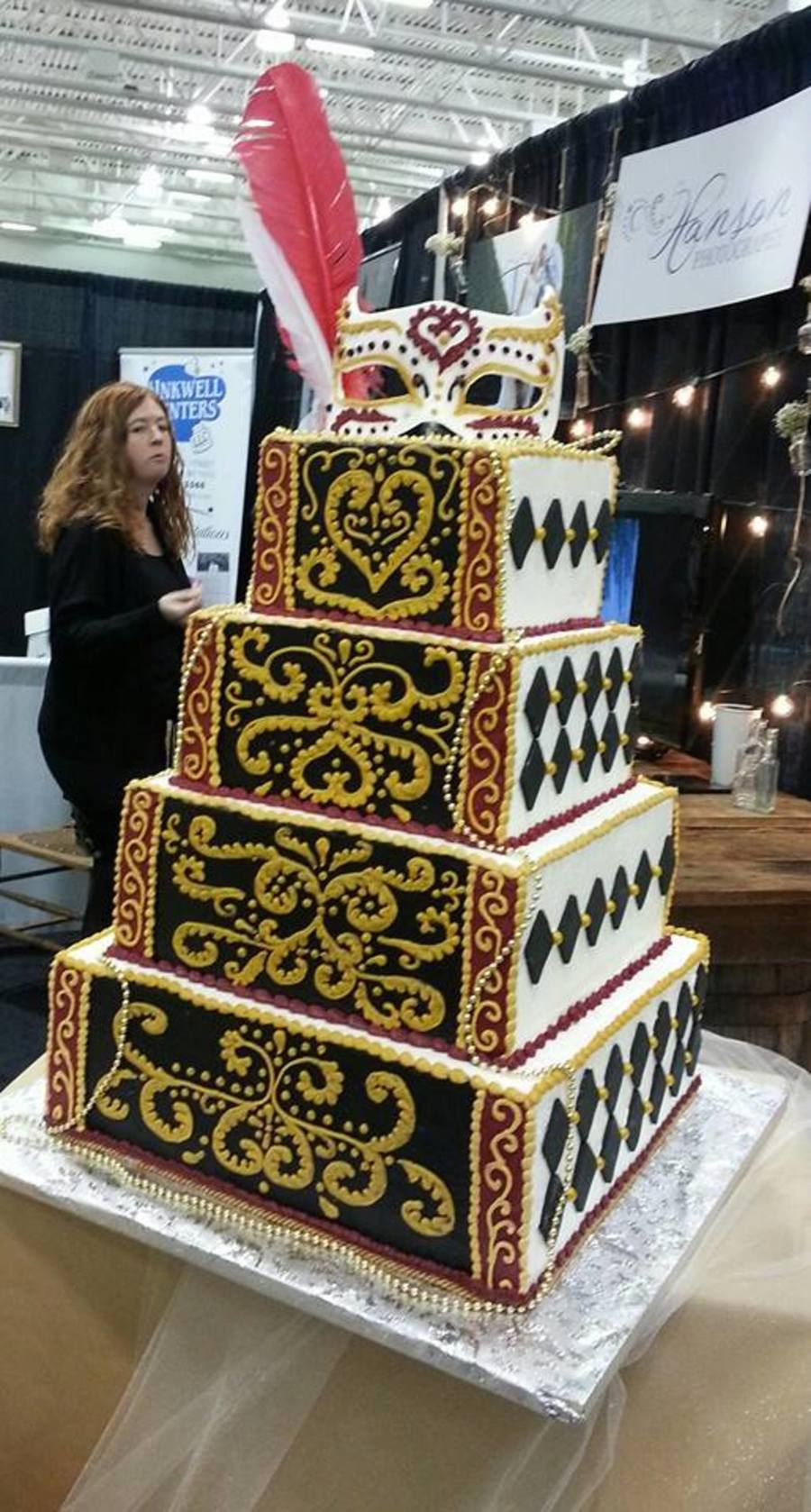 Masquerade Themed Wedding Cake Displayed At The 2014 Wedding Planner And Guide Bridal Show Made Mainly With Buttercream The Harlequin Di on Cake Central