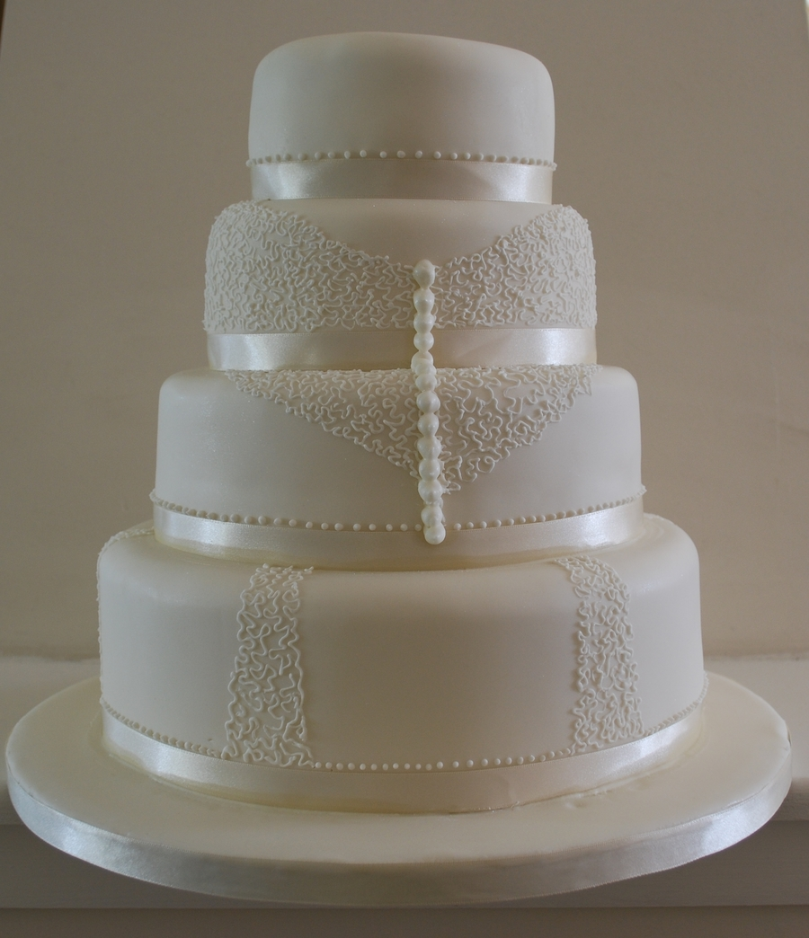 Lace Effect Wedding Cake Cakecentral Com