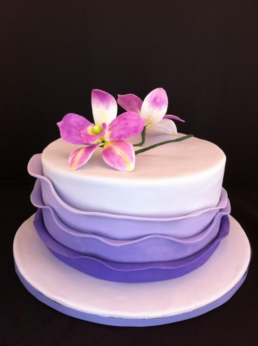 Purple Ruffle Cake With Orchid Cakecentral Com