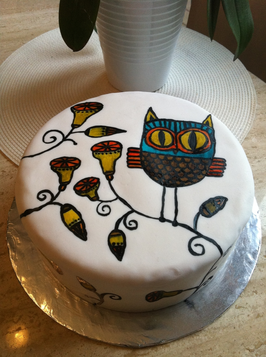 Handpainted Owl Cake on Cake Central