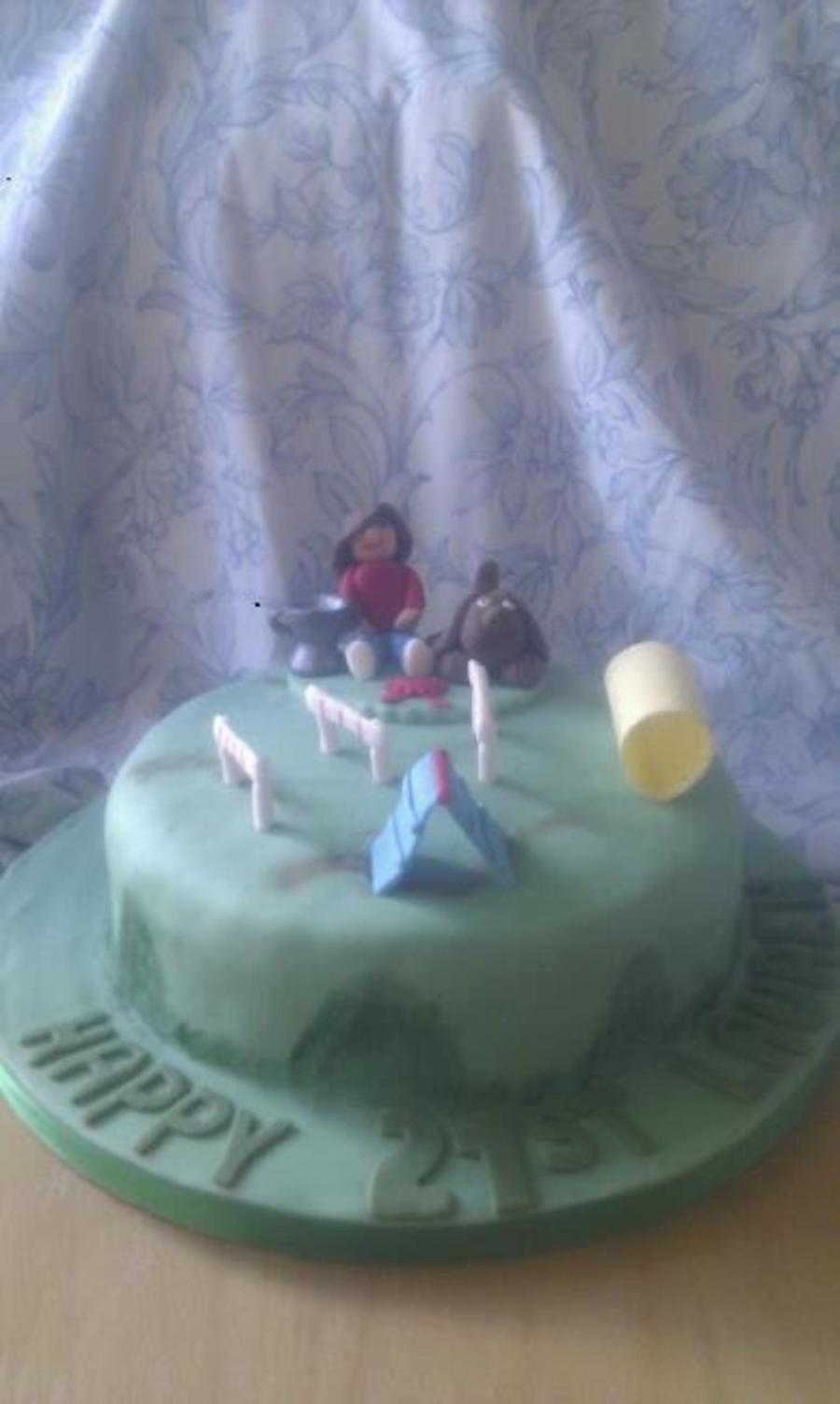 Dog Agility Cake Decorations : Dog Agility 21St Birthday Cake - CakeCentral.com