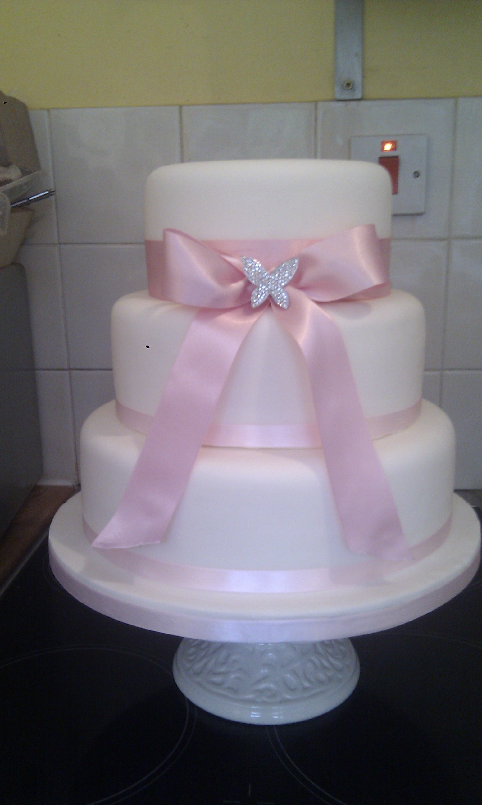 Baby Pink Butterfly 3 Tier Wedding Cake Cakecentral Com