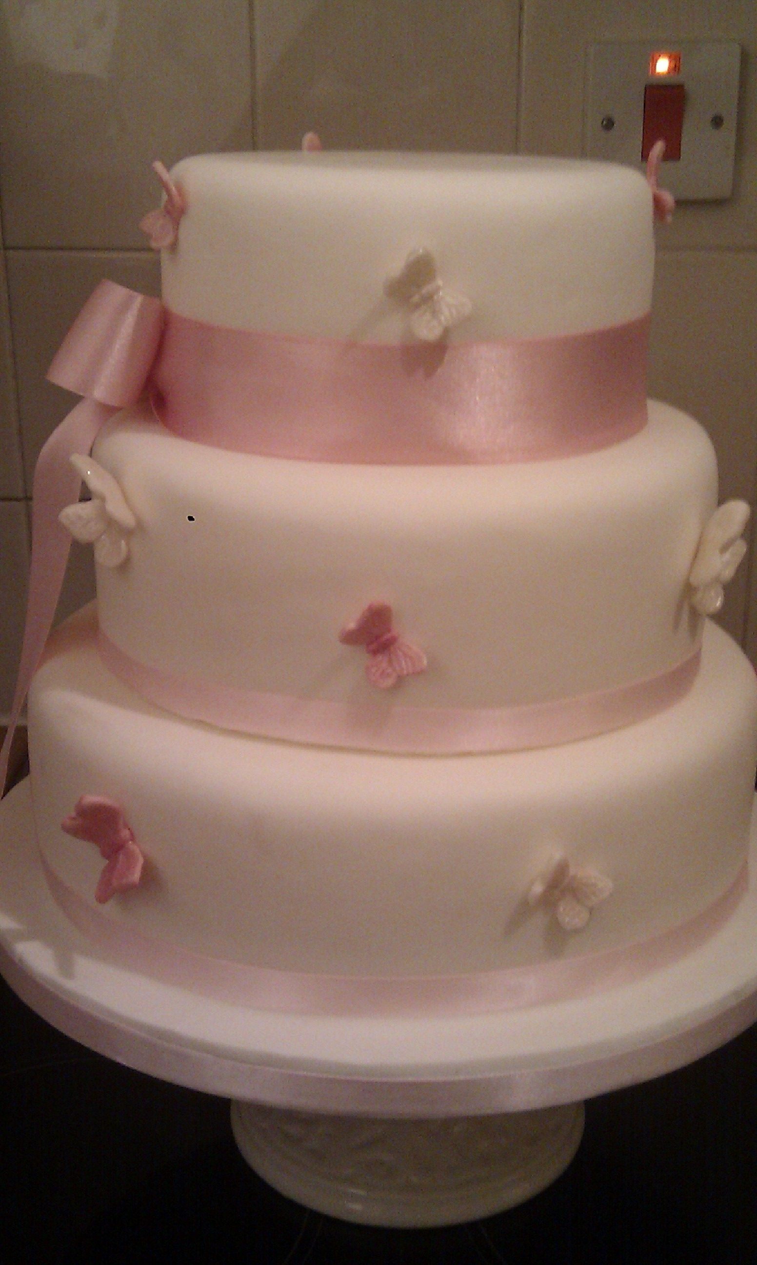baby pink wedding cake baby pink butterfly 3 tier wedding cake cakecentral 11001