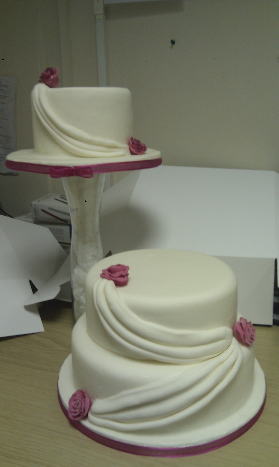 Fuschia Pink Rose & Swag Wedding Cake  on Cake Central