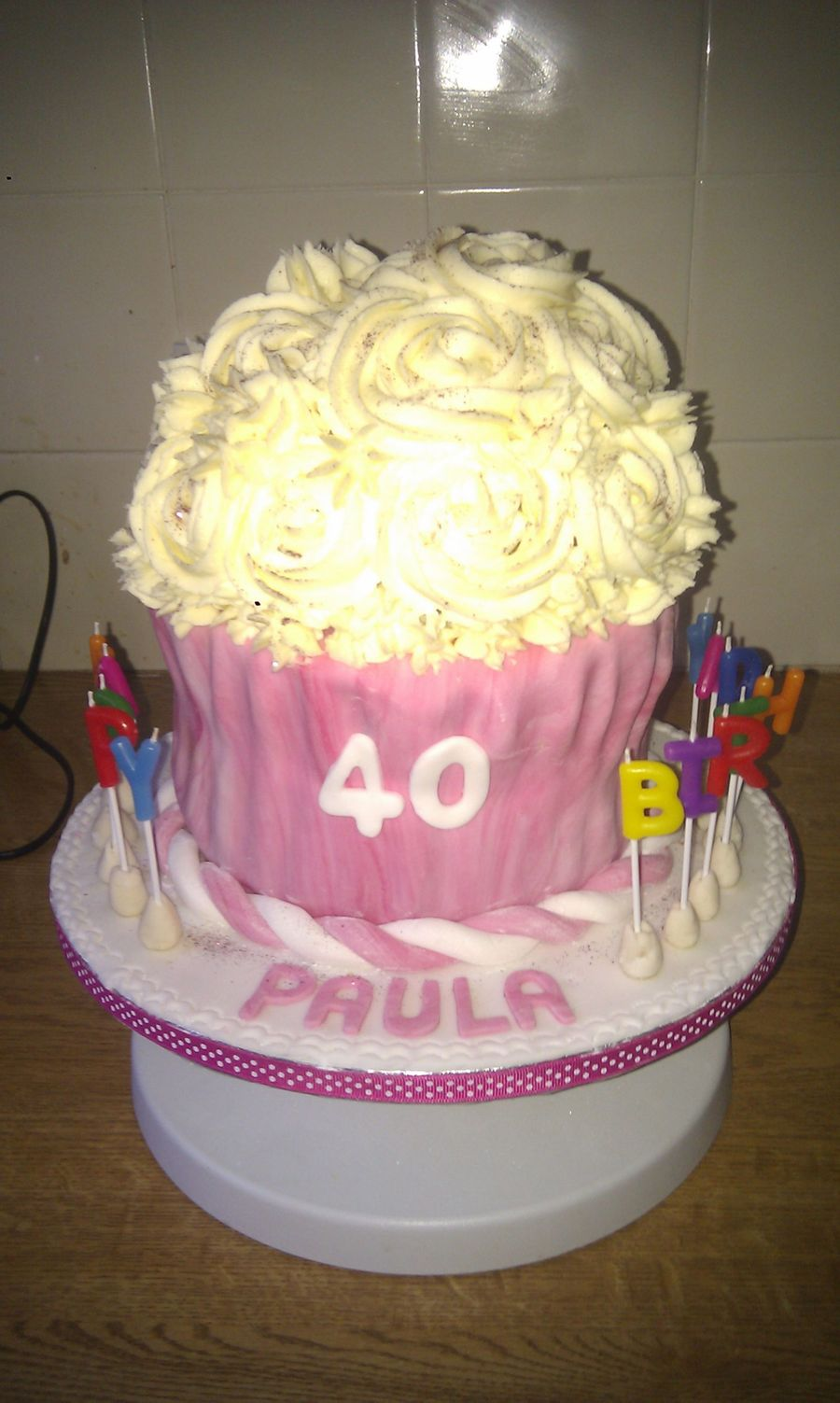40Th Xxl Giant Cupcake on Cake Central