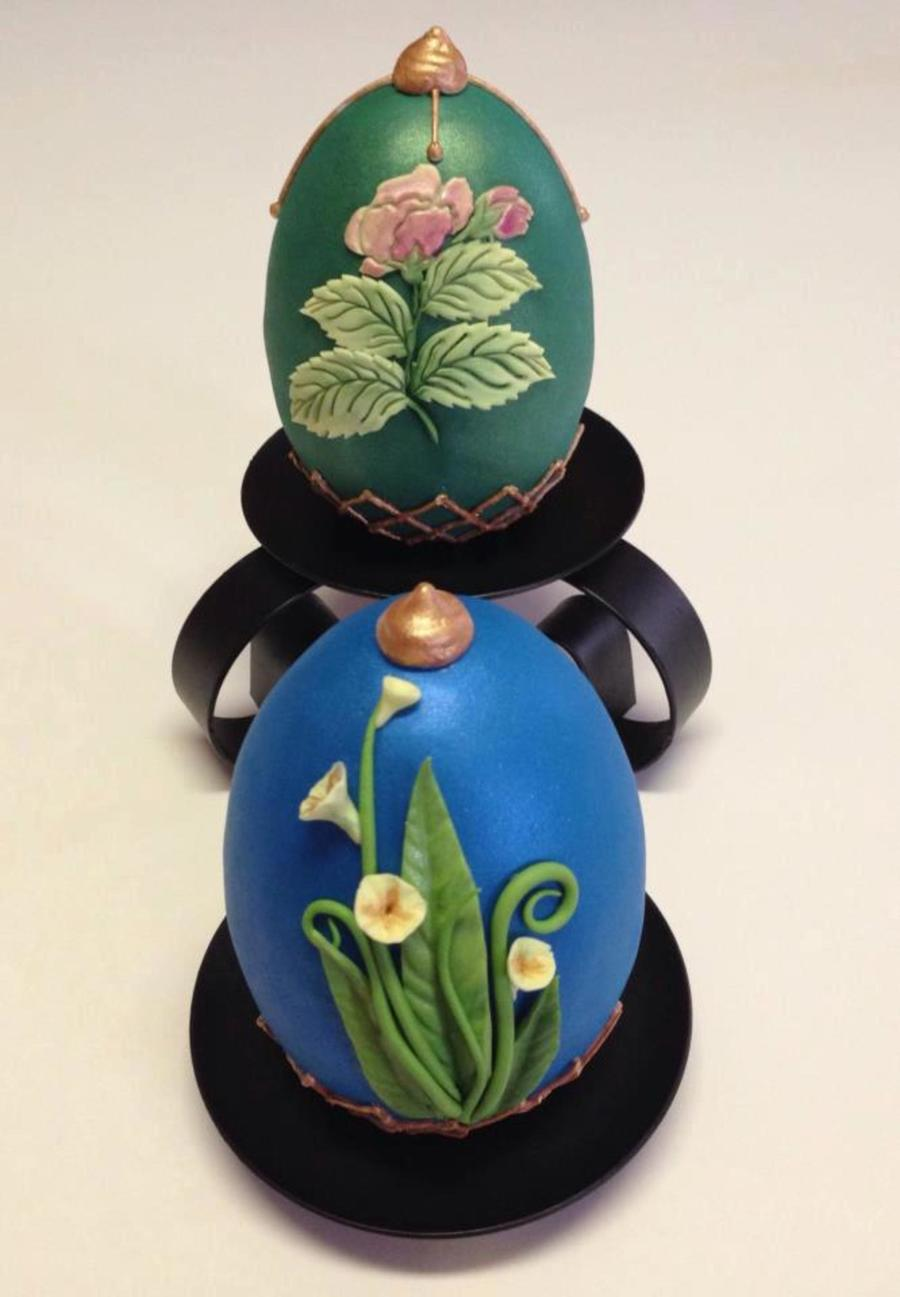 Spring Themed Faberge Egg Eggs Are Made Out Of Rkt I Molded Into A Silicone Mold Covered With Modeling Chocolate Final Covering Was Do on Cake Central