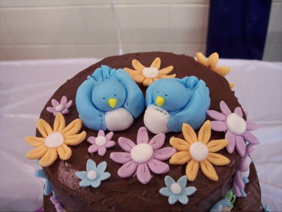 Topsy Turvy Blue Birds  on Cake Central