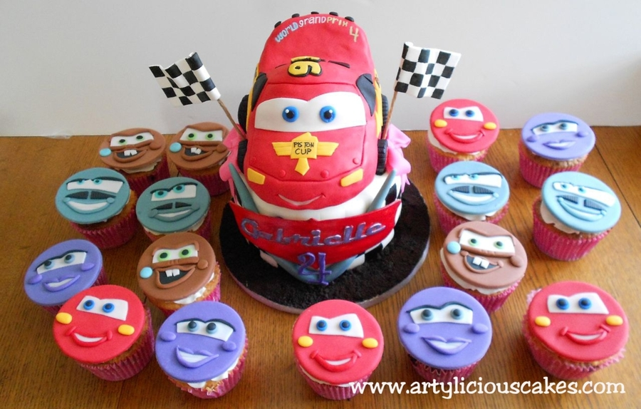 Cars  Cake  Cupcakes Set CakeCentralcom - Birthday cake cars 2
