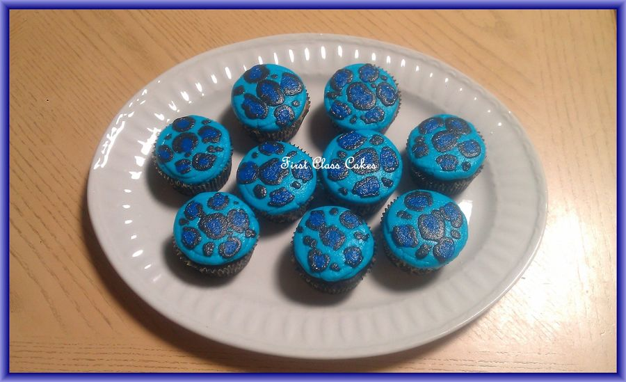 Blue Leopard Print Cupcakes  on Cake Central