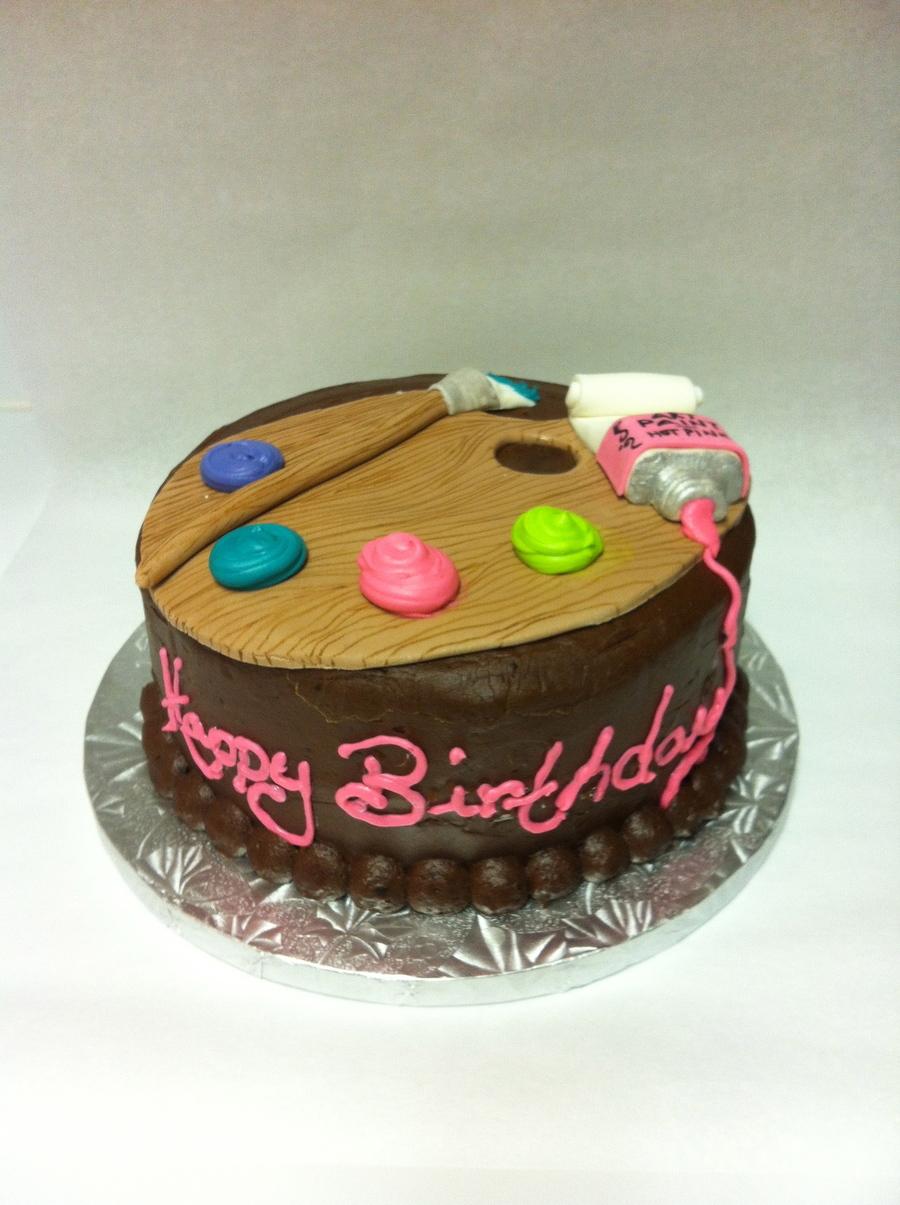 Artist Palette Birthday Cake On Central