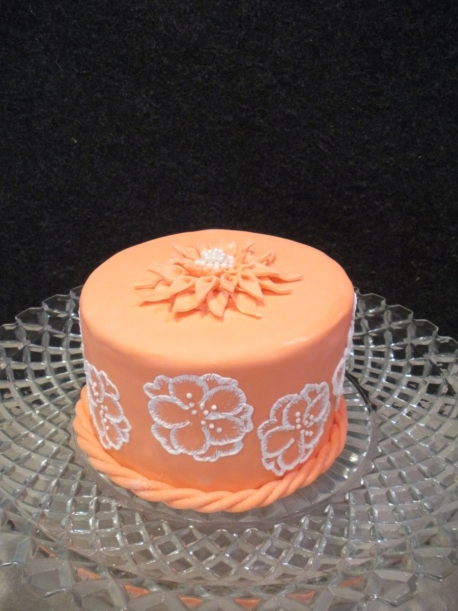 First Try Brush Embroidery And Dahlia W/ Sugar Pearls on Cake Central