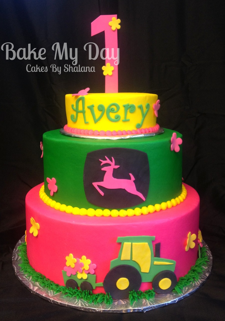 Pink John Deere Theme  on Cake Central