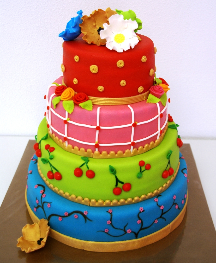 Happy Colourfull Cake on Cake Central