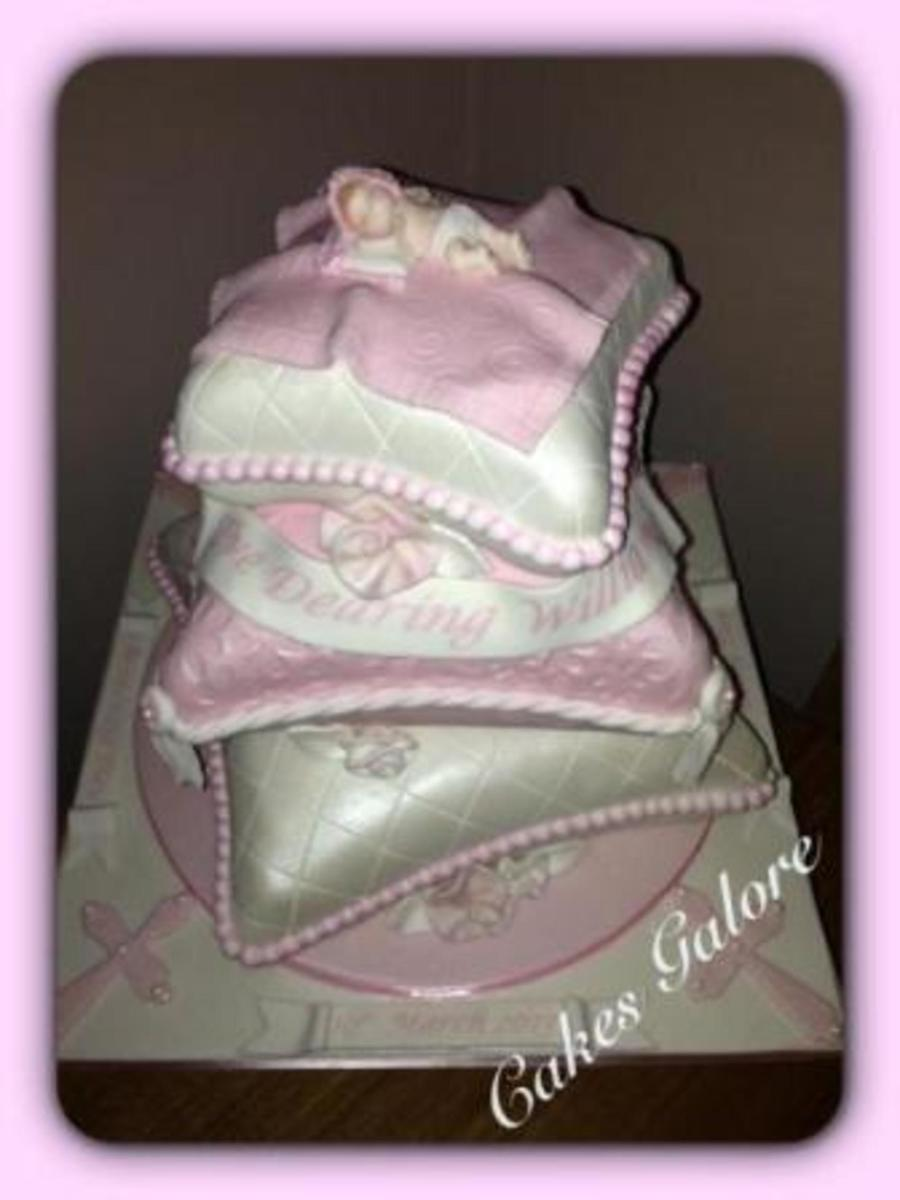 baby girls christening cake cushion pillow cakecentral com