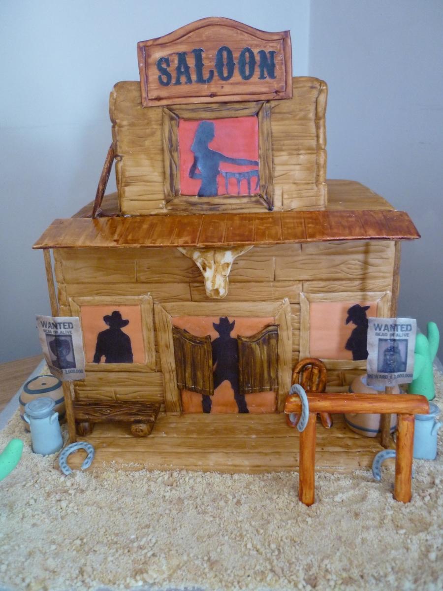 cowboy saloon wild west cake. Black Bedroom Furniture Sets. Home Design Ideas