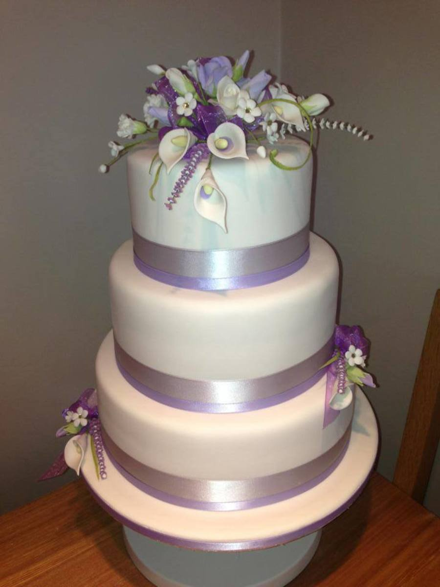 Lilac And White 3 Tier Wedding Cake CakeCentralcom - 3 Tier Wedding Cakes