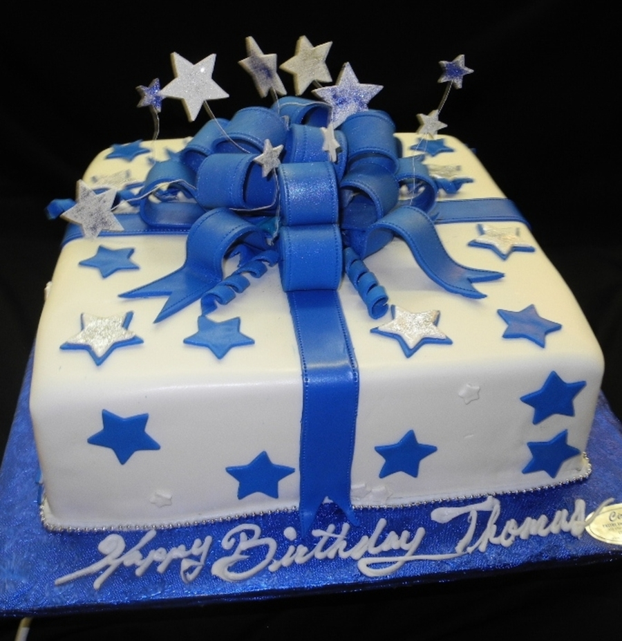 Blue And White Stars Fondant Birthday Cake On Central