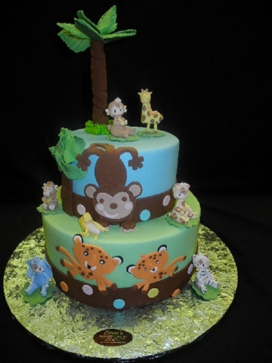 jungle theme baby shower cake animal theme baby shower cakes cakecentral 5283