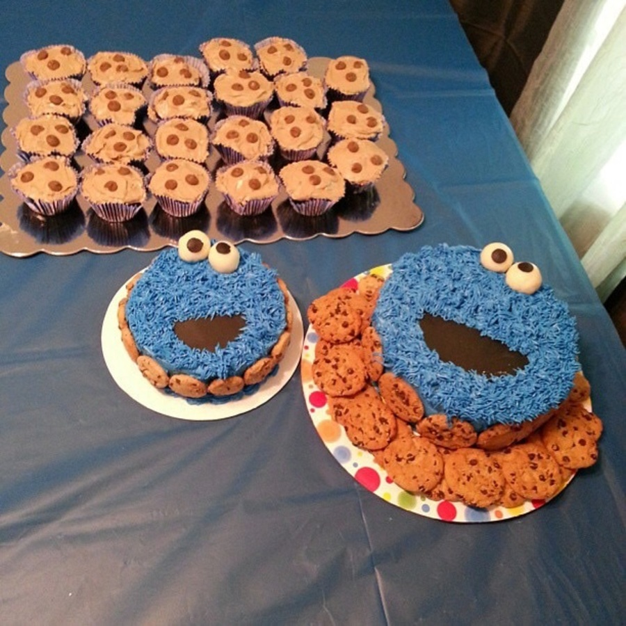 Cookie Monster Cake For My Sons 1st Birthday I Made A