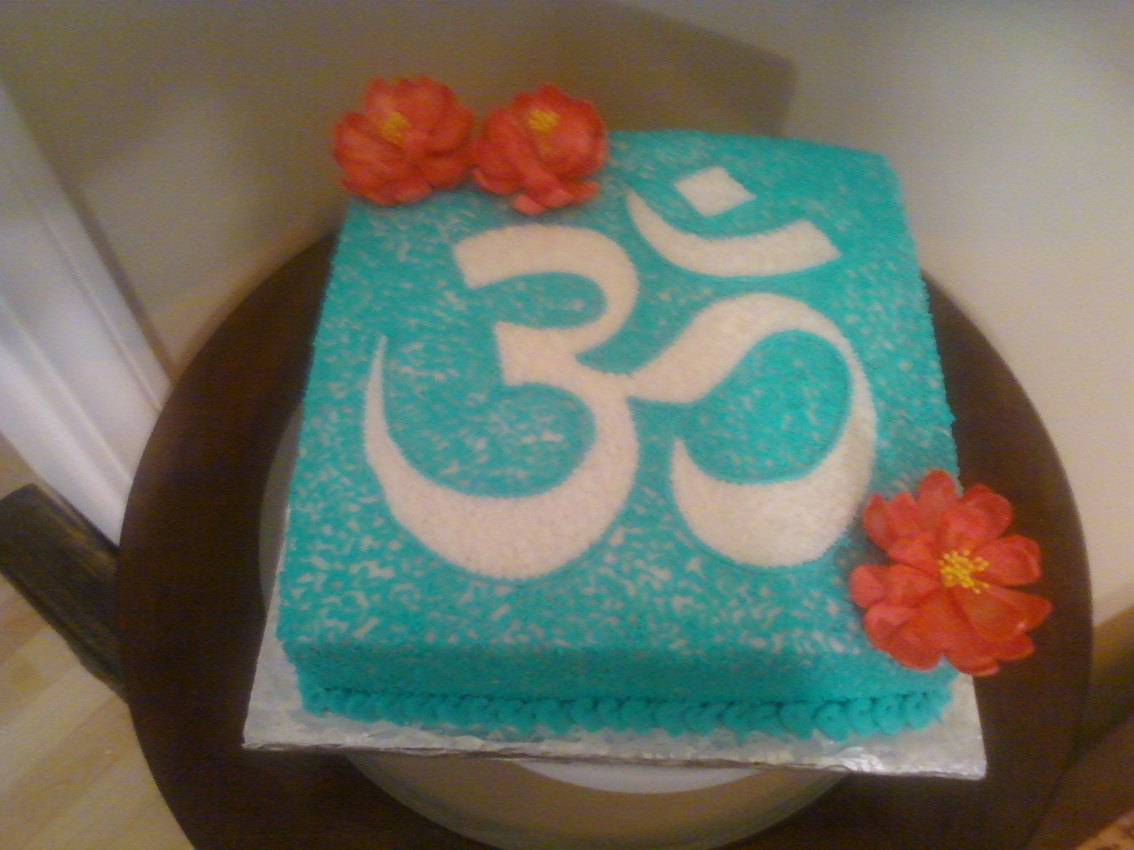 Om Symbol With Lotus Flowers Birthday Cake Cakecentral