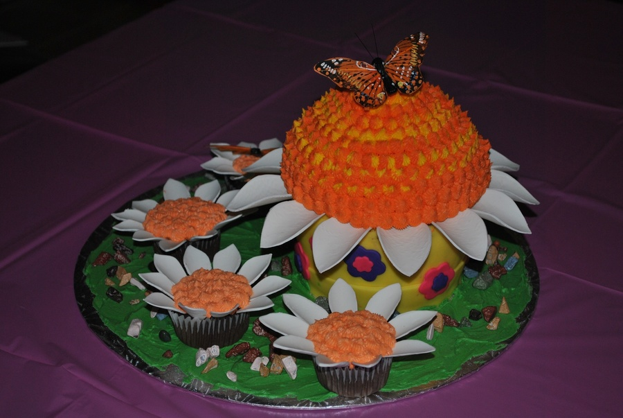 Butterflies And Daisies  on Cake Central