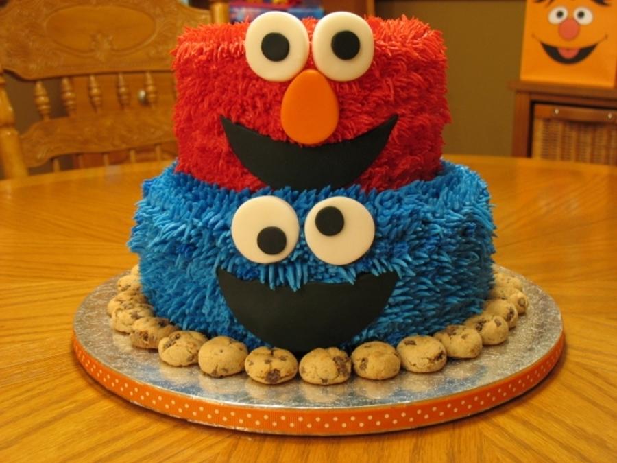 Elmo Cookie Monster Cake Cakecentral Com
