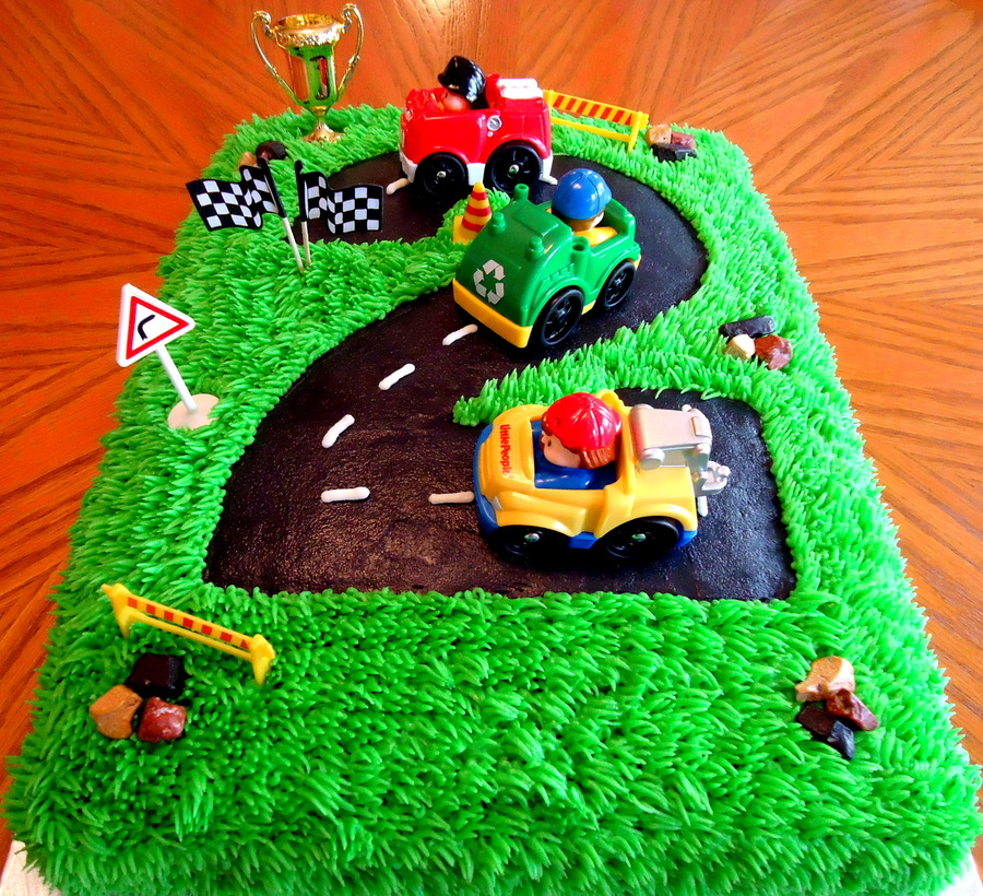 Number  Race Track Birthday Cake