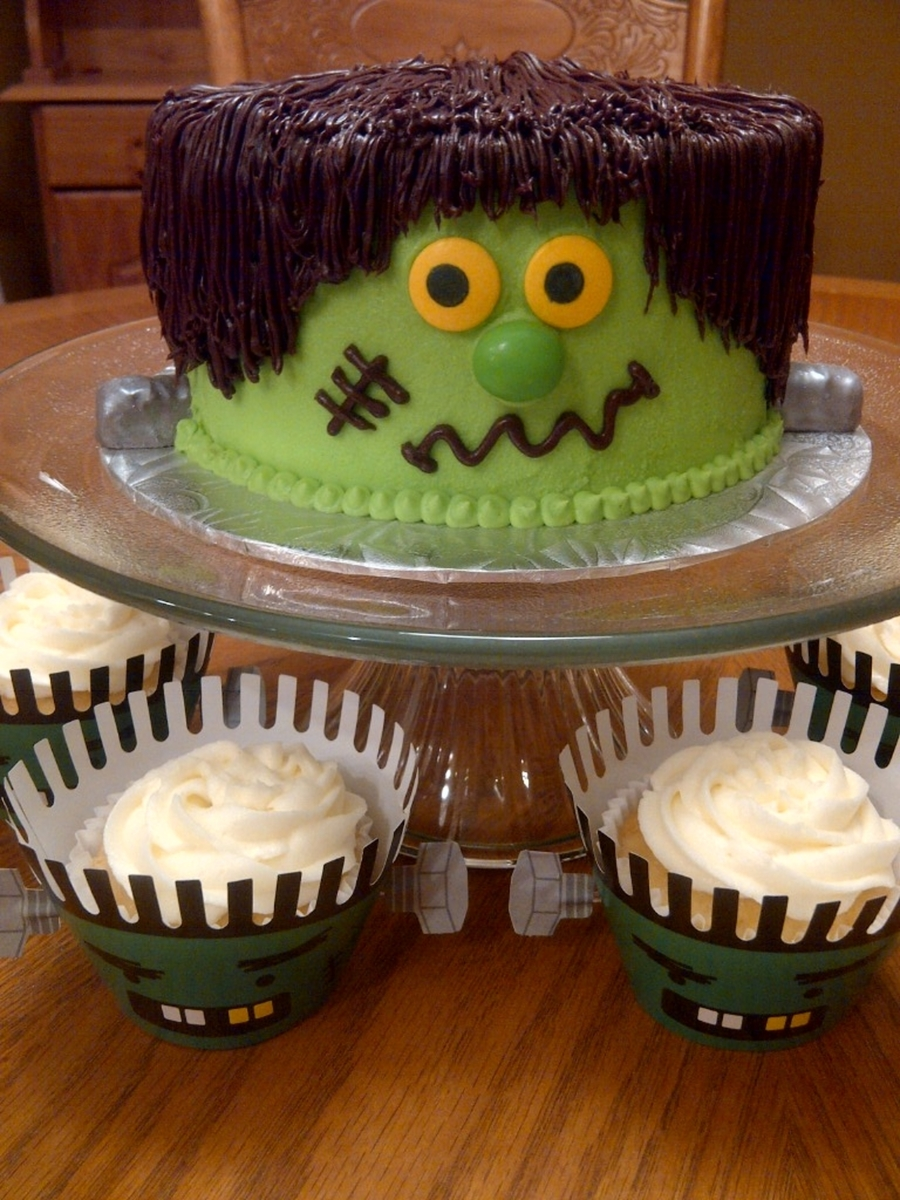 Frankenstein Cake And Cupcakes on Cake Central